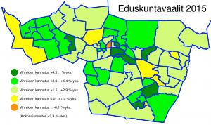 Tampereen äänestysalueet, vihreiden muutos