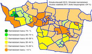 Tampereen äänestysalueet, vihreiden suhteellinen muutos