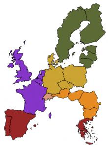 Kuva 1: Tuuliolosuhteiltaan toisistaan poikkeavia alueita Euroopassa